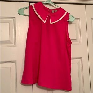 Tops - Hot Pink silky collared blouse!!